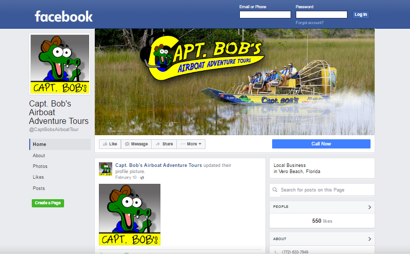 Captain Bob's Airboat Adventure Tour Facebook Page. This link opens new window.